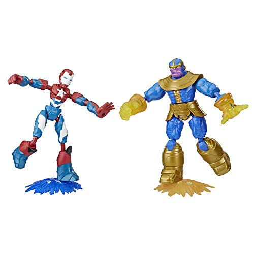 Marvel Avengers Bend and Flex Iron Patriot vs. Thanos Toy Dualpack, 6-Inch Flexible Action Figures, Includes 2 Blast Accessories, For Kids Ages 6 And Up