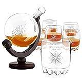 Murrano Whisky Karaffe mit Gravur - Globus mit Schiff, 850 ml - 6er Whiskygläser Set - Whisky Dekanter - Geschenk zum Geburtstag für Damen - personalisiert - Kompass