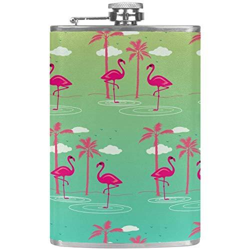 Bennigiry Flachmann für Herren, mit rosa Flamingos, auslaufsicher, Edelstahl