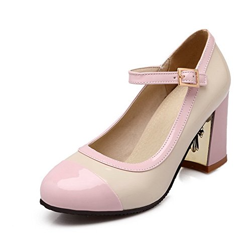 CosyFever Zapatos de Tacón Mary Jane Chunky Medio conHebilla de Salón Parte Superior de Corte Bajo DC40 para Mujeres Rosa - 35 EU