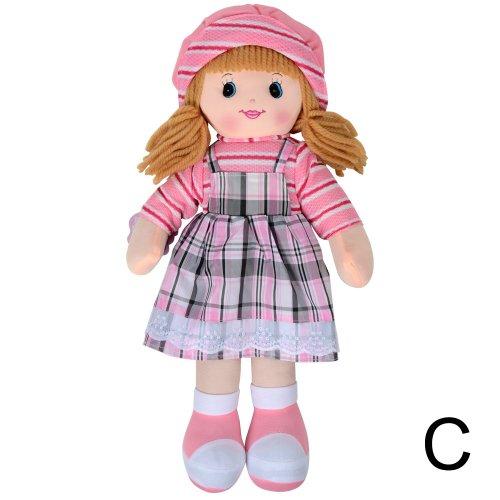 Toyland 50cm klassisches Ragdoll weiches kuscheliges Spielzeug - Rosa u. Schwarzes Karo-Kleid / gestreifter Hut