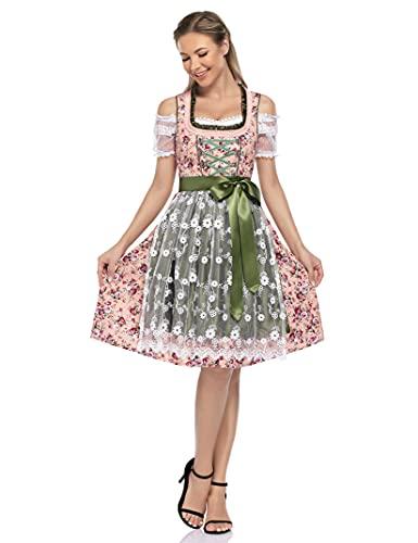 Clearlove Dirndl 3 TLG.Damen Midi Trachtenkleid für Oktoberfest,Karneval,Spitzen Kleid&Bluse&Schürze(Verpackung MEHRWEG)