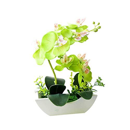 LPxdywlk Artificial Flower Butterfly Orchid Wooden Boat Shape Pot Bonsai Party Desk Decoration Green Height 30.5cm