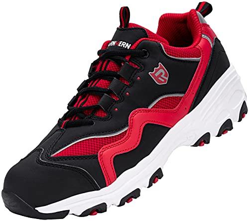 Zapatillas de Seguridad Hombre Mujer,SBP Sra Anti-Deslizante Punta de Acero Ultraligero Transpirables Zapatos de Seguridad,43.5 EU,Blanco Rojo Negro