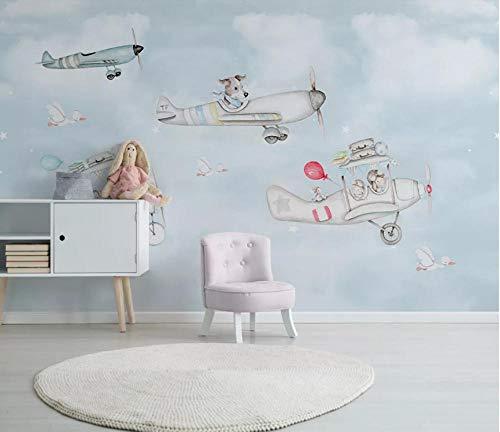 3D fotobehang wandafbeelding muurafbeelding cartoon vliegtuig woonkamer TV sofa achtergrond behang moderne wooncultuur 350 x 245 cm