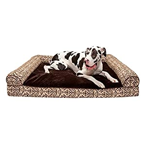 Furhaven Pet Dog Bed – Cooling Gel Memory Foam Plush Kilim Southwest Home Decor Traditional Sofa-Style Living Room Couch Pet Bed with Removable Cover for Dogs and Cats, Desert Brown, Jumbo Plus