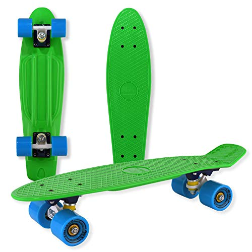 """WELLIFE – Skateboard RGX Mini Cruiser Completo Skate Board per Bambini Giovani Adulti Principianti 22"""" Ruote in PU Tavola in Plastica Rinforzata Cuscinetto ABEC-7RS (Green)"""