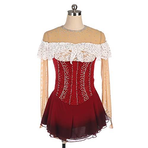 Figuur Schaatsen Jersey, Rok voor Meisje Dans Jurk Ballet Diamonds Ballet Gymnastiek Leotard Lange Mouw