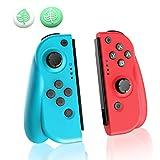 JOYSKY Mando Inalámbrico para Nintendo Switch, Set de 2 Joy con de Repuesto Izquiero y Derecho Inalámbricos Bluetooth Gamepad Joystick Mando (L) Azul/ (R) Rojo