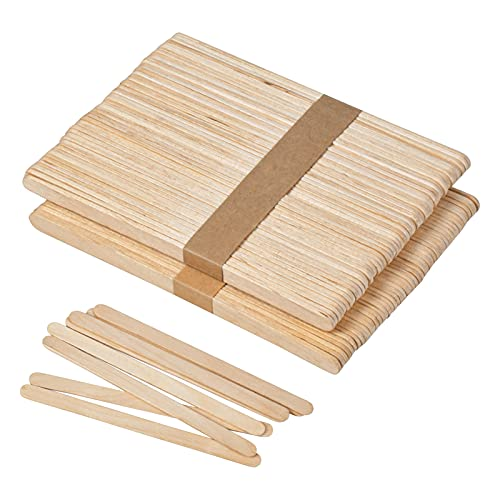 Chstarina 100 Stück Eisstäbchen mit Abgerundeten Enden,Eisstiele Aus Holz Holzspatel Holzstäbchen Zum Basteln Holzspachtel Holzstäbe Eisstiele aus Holz Zum Basteln,DIY-Kunsthandwerk,Rühren