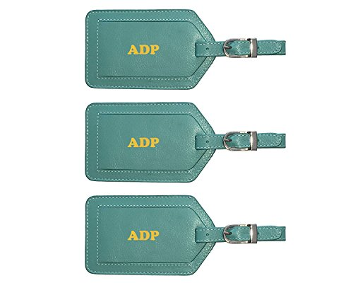 Personalized Monogrammed Turquoise Leather Luggage Tags - 3 Pack