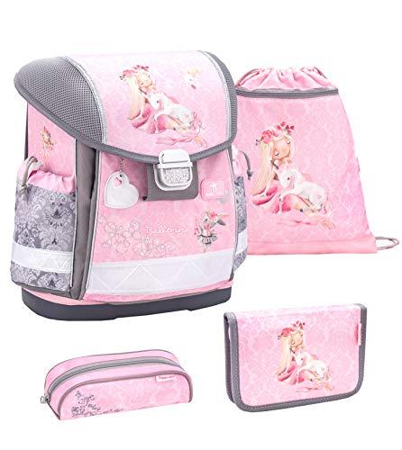 Belmil Schulranzen Set 4 - teilig ergonomischer Schulranzen Mädchen 1. klasse 2. klasse 3. klasse - Super Leicht 860-950 g/Grundschule/Ballerina, Tänzer/Rosa, Pink (403-13 Ballerina)