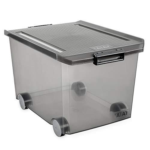 Tatay Caja Almacenaje Multiusos con Tapa, 60 L de Capacidad, Con Asas y Ruedas, de Polipropileno, Libre de BPA, Gris (Fume), Medidas 40 x 57 x 36 cm