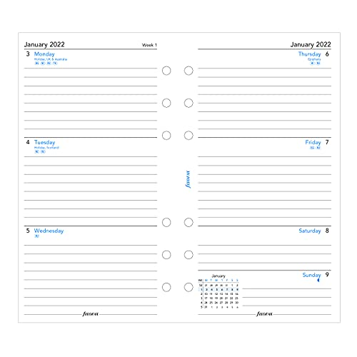 Filofax Refill, Persoonlijk/Compact formaat, Week-to-View, Wit papier, gelijnd, Engels, 2022 (C68418-22)