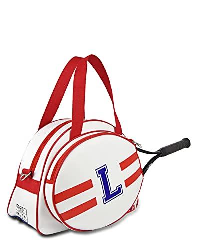 IDAWEN - Raquetero Personalizable Blanco y Rojo - Máxima Organización con Diferentes Bolsillos - Tamaño Grande - Medidas: 42 x 19 x 31 cm - Mochila de Raquetas de Tenis - Producto Sostenible