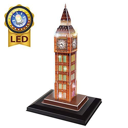 CubicFun 3D Puzzle London UK Big Ben (LED) Architektur Gebäudemodell Kit Geschenk für Erwachsene und Kinder, 28 Stück