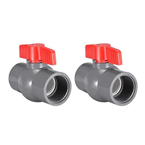 Válvula de bola de PVC Perilla de tubería de suministro Extremos roscados 1-1/2'Diámetro del orificio interior Rojo Gris 2 piezas