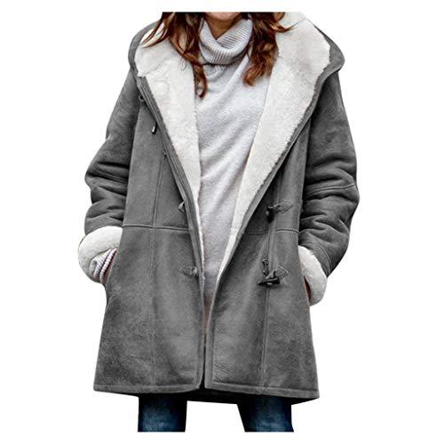 L9WEI Damen Plüsch Mantel mit Tasche Knöpfen Taschen Jacke Einfarbig Langarm Winterjacke Fleecemantel Mantel Hoodie Outwear Cardigan Plüschmantel