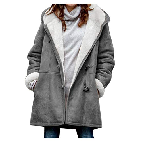 Winter Warm Coats for Women Plus Size Hooded Jackets Parka Solid Thicken Jackets Long Cotton Pea Coat Gray