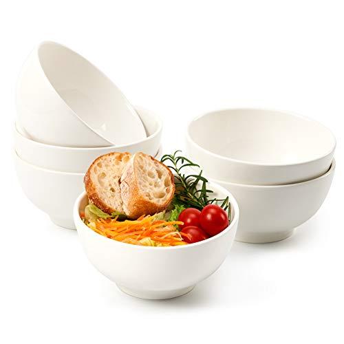 EZOWare 800ml Set di Ciotole in Porcellana, Scodelle Rotonde per Cereali, Insalata, Zuppa, Snack Dessert - Confezione da 6, Bianco (15.5 x 8.5 cm)