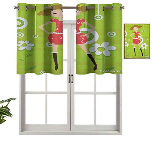 Hiiiman Cortina corta con ojales para ventana, diseño de Taurus de pie sobre fondo verde con diseño floral, juego de 1, 137 x 45 cm para baño y cocina
