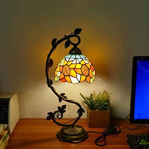 DIMPLEY Lámparas de Escritorio Tiffany Mesa de Cristal Mesa de Lectura Banquero de Cristal de Cristal de Cristal Azul Amarillo Sombra para Sala de Estar Dormitorio