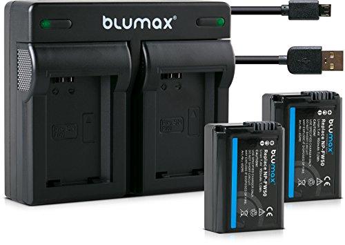Blumax–2x Batería Dual Cargador para Sony NP-FW501030mAh compatible con Alpha 6000650063005000777A7R A7A7S...