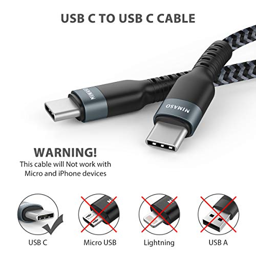 Nimaso USB C auf USB C 3.0 Kabel,USB Typ C 60W 20V/3A Power Delivery Ladekabel USB C Schnellladekabel für iPad Pro 2020,MacBook Pro,Galaxy S20/S10/S21,Huawei P30,Google Pixel 3a/3,Xiaomi 9