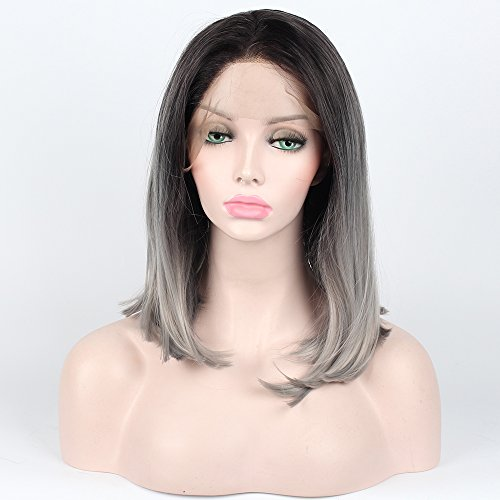 """SHANDIREN Short Bob Straight 16"""" Lace Front Wigs Shoulder Length Synthetic Heat Resistant Fiber Wigs Black White Grey Ombre Two Tone Glueless with Dar"""