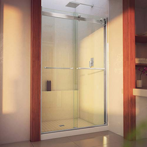 DreamLine Essence-H 44-48 in. W x 76 in. H Semi-Frameless Bypass Shower Door in Brushed Nickel, SHDR-634876H-04