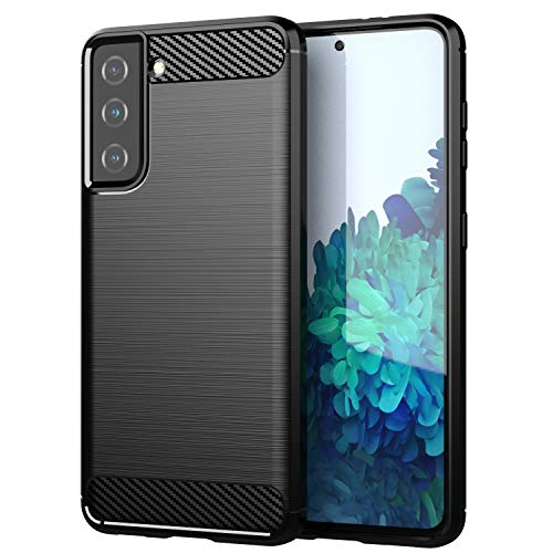betterfon Hulle fur Samsung Galaxy S21 5G Handyhulle Samsung S21 5G Carbon Case TPU Silikon Cover Bumper fur Galaxy S21 5G SM G991B Schwarz