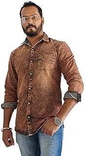 SKOR NX Men's Denim/Jeans Brown Solid Full Sleeve CasualSlim Fit Shirt