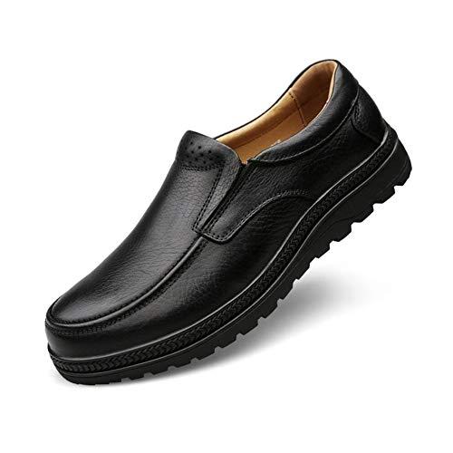 OOFAN Herrenschuhe Frühling/Sommer / Herbst Mitte/Alter Loafer & Slip-Ons Daddy Schuhe Business Schuhe Freizeitschuhe,Black,45