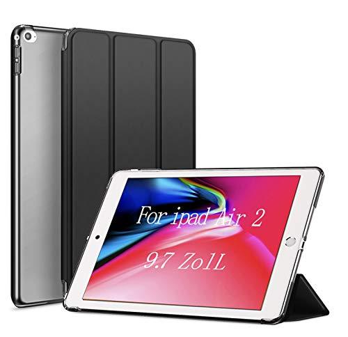 aoub iPad Air 2 Hülle 9.7 2014 Ultradünn Leicht Smart Schutzhülle PC-Hartschale mit Auto Schlafen/Aufwachen für iPad Abdeckung für iPad AIr 2. Generation (A1566 A1567),Schwarz