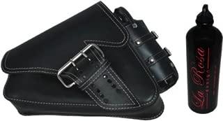 La Rosa Design 04-UP Harley Davidson Sportster/Nightster/883 Iron/XL1200 Left Side Saddle Bag /Swingarm Bag with Fuel Bottle Black Leather White Thread