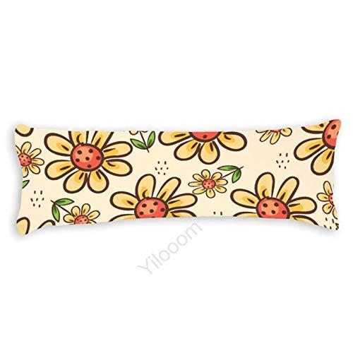 Funda de almohada para el cuerpo, funda de almohada protectora de almohada con cierre de cremallera para decoración del hogar, 50 x 122 cm, patrón abstracto de flores amarillas