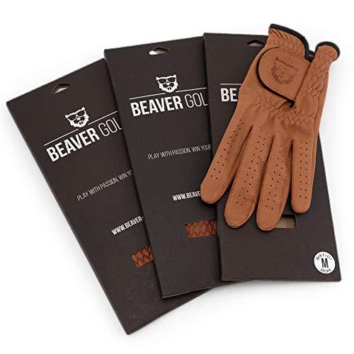 BEAVER GOLF 3X Herren Golf Handschuh Cognac - Season Pack - Premium Cabretta-Leder - maximale Qualität - nachhaltig - Handarbeit (M, Links (Rechtshänder))