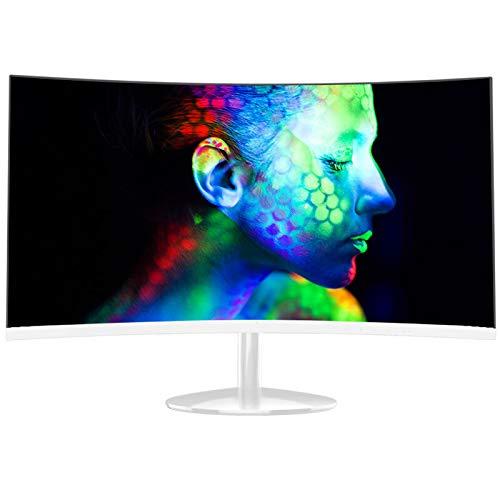 YILANJUN Monitor - 24/27', FHD, VA, LCD Pantalla para Comercial/Oficina (Interfaz HDMI, 1920 × 1080, 60Hz, 6ms, Curvatura 1800R, Negro/Blanco)