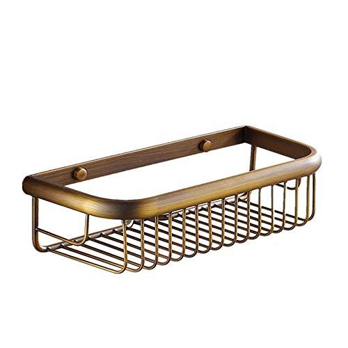 Bathroom Shower Shelf Basket 30cm Brass Shower Organiser Antique Brass Wall Mounted