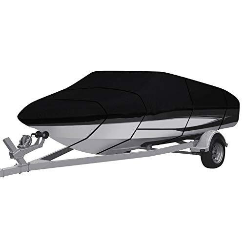 RainMan S Waterproof Heavy Duty 210D Boat Cover Trailerable Fishing Ski Bass V-Hull Tri-Hull Runabouts 17-19ft Black