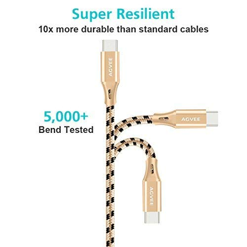 AGVEE End Tip Unbreakable Cruel 4A Heavy Duty [3 Pack 6.8ft] Fast Charger Cable Charging Cord for iPhone 11 Pro Max X XS XR, i-Phone 6 6S 7 8 10 Plus 10x 10xr Case Friendly, Black and Gold