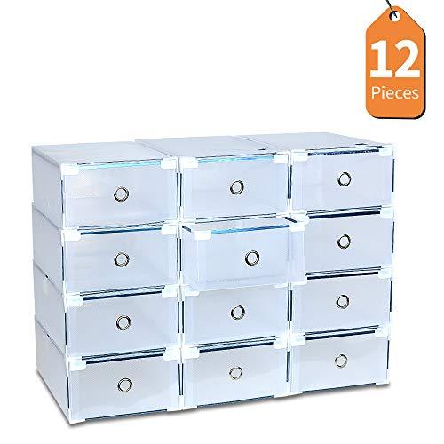 LENTIA Schuhbox transparent aus Polypropylen 12XSchuhkartons wasserdichte aufbewahrungsbox 31 * 20 * 11cm für Männer und Frauen