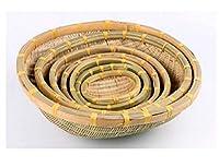 手作りの竹織り製品、竹かご、スナックトレイ、農場織りのフルーツプレート、パンプレート、ピザプレート、中国の特徴-P-1スタイル21cm