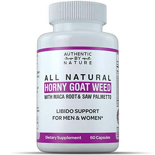 Horny Goat Weed for Men and Women. All Natural Powder Extract Capsule Supplement with Maca, Saw Palmetto, Ginseng. Boost, Energy, Performance, Stamina. Non GMO, Gluten Free (60 Capsules)
