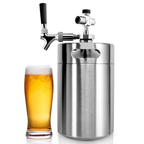 NutriChef PKBRTP299 Pressurized Mini Keg System, 128oz Double-Walled Stainless Steel Growler Tap Portable Dispenser Kegerator Kit, Co2 Regulator for Craft Beer Draft/Homebrew