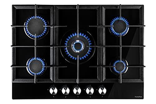 PremierTech PC705G Piano Cottura a Gas da 70cm, 5 fuochi, Vetro Nero, Bruciatore Wok, Supporti in Ghisa, GPL e Metano