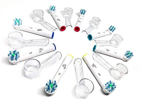 8 Testine di Ricambio 3AG Compatibili per Oral B Generiche Cross Action + 8 Copritestine di Protezione Igienici per spazzolino elettrico Oral-B Sensitive, Professional Care, Vitality, ecc