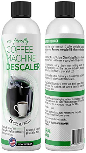 Eco Friendly Descaler - Liquid Descaling Solution for Keurig, Nespresso, Ninja, Delonghi & All Single Use or Drip Coffee Machines & Espresso Makers - Green Descaler Made in the USA by Natural Clean