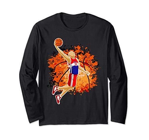Croatia Basketball Team Croatian Flag Slam Dunk Sport Lover Langarmshirt