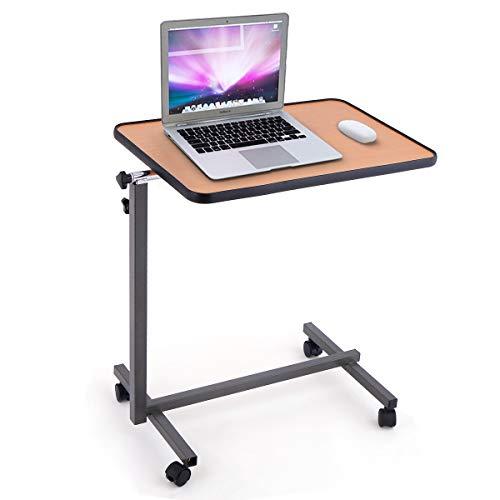 GIANTEX Laptoptisch mit Rollen, Beistelltisch Notebooktisch höhenverstellbar, neigbare Tischplatte, Rolltisch Pflegetisch Betttisch Projektionstisch (Natur)